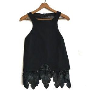 {Stylestalker} Black Lace TLC Sleeveless Top Sz 4